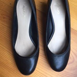 "Aldo Black Leather Shoes 2"" Heel Size 38 or 7.5"